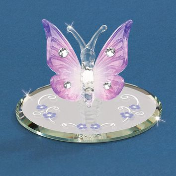 Glass Baron Lavender Butterfly with Crystals Figurine