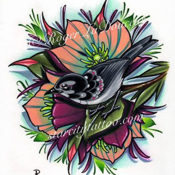 "Original art print, Blackbird and Hellebore Flowers, size 8""x10"""