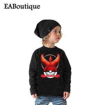 Winter sweatshirt Cotton Cartoon POKEMON GO GAME PATTERN Kids boys girls clothes long sleeve t shirt retail 1 pcs