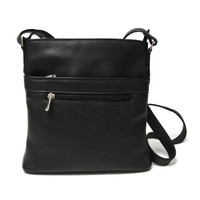 Royce Leather Vaquetta Leather Triple Zip Crossbody Bag