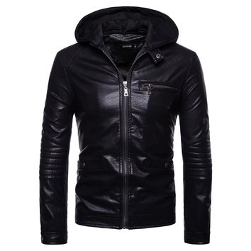 2018 Men's fashion winter hooded leather clothes jacket man new personality fashion leather jacket keep warm EU/US Large size