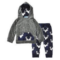 2017 autumn Baby Girls boy Clothes Newborn Infant Hooded Sweatshirt Tops+Pants 2pcs toddler Tracksuit Kids clothes Clothing Set