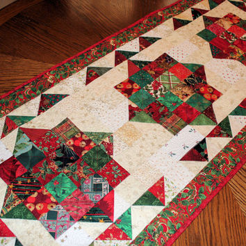Christmas Jewels Quilted Table Runner, Bright Red, Green and Cream Christmas Holiday Quilt