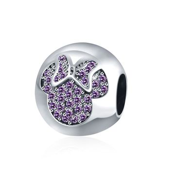 Sterling Silver Coral CZ Minny Mouse Charm