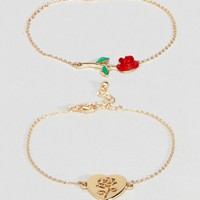 ASOS Pack of 2 Rose Detail Chain Bracelets at asos.com
