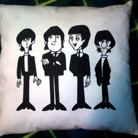 Handdrawn handmade cotton Beatles cartoon cushion by geekvintageuk