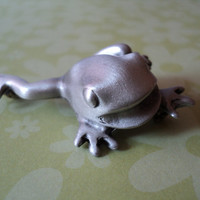 Frog Brooch Brushed Silver Metal Frog Pin Vintage Leaping Frog Jewelry Stocking Stuffer Gift for Her