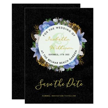 Black Gold Hydrangeas Floral Save the Date Wedding Card