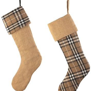 Brown Plaid & Burlap Stockings (Set of 2)