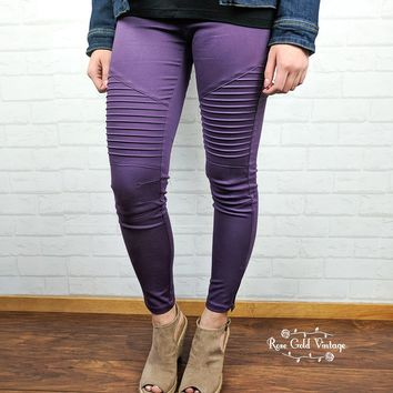 Denim Twill Moto Jeggings - Purple - Medium only