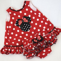 Custom Red Minnie Mouse outfit , toddler girl summer outfit , summer dress set , ruffle bloomers , red and white , sizes 3M - 2T