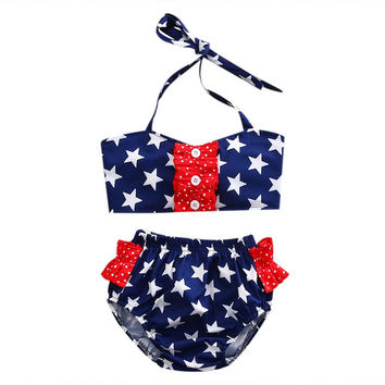 girls clothes Toddler Bebe Girls Kids America stars print 2pics Swimsuit Bathing Bikini Set Swimwear Swimsuit Beachwear vestidos