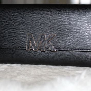 NEW MICHAEL KORS FLORENCE BLACK LEATHER LARGE BILLFOLD WALLET CLUTCH