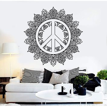 Vinyl Wall Decal Mandala Peace Symbol Hippie Buddhism Stickers Unique Gift (ig4414)