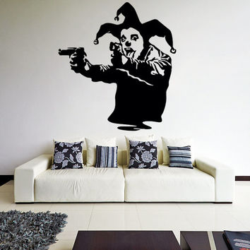 Banksy Vinyl Wall Decal Joker Clown with Pistols / Jester Showing Tong Graffiti Street Art Decor Sticker Mural + Free Random Decal Gift!