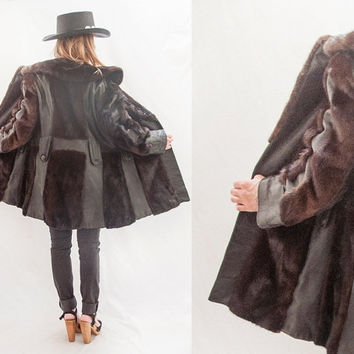 Distressed Vintage Fur and Leather Coat | Womens Medium or Mens Small | Black Genuine Leather Espresso Brown Rabbit Mink Animal Fur | AS IS