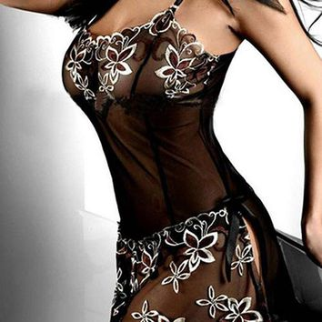 Women's Sexy Embroidery See-through Sleepshirts Underwear Mesh Sleepwear