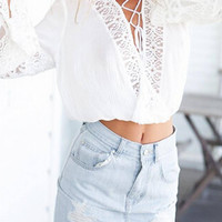 White Lace-up Flared Sleeves Top