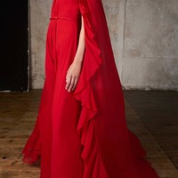 Gown With Cape Overlay | Moda Operandi