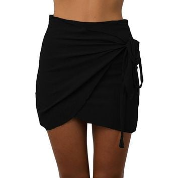 Bodycon Wrap Skirt Mini Skirts Summer Tie up Beach Short Skirts Women Vintage Irregular Halter High Waist Skirts