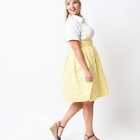 Iconic by Plus Size UV Yellow & White Striped Jitterbug Suspender Skirt