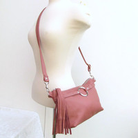 Pink Leather Fanny Pack with tassel - Dusty pink hand free waist pouch