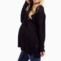 Black-Cable-Knit-Oversized-Maternity-Sweater