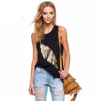 Womens Black Sexy Loose Slim Plus Size Ladies Tank Top Cotton  Sleeveless Print Casual  Feminina