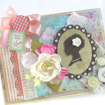 Shabby Chic Mother's Day card, Love you Mom, Mother's day greeting card, Mom, Mother, Mama, Shabby chic, Floral card, Handmade card