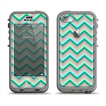 The Vintage Subtle Greens Chevron Pattern Apple iPhone 5c LifeProof Nuud Case Skin Set