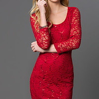 Short Lace Embellished Dress with Sleeves