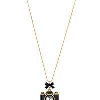 Betsey Johnson Camera Pendant Long Necklace | Dillards.com