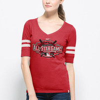 '47 Brand Womens Short Sleeve Flanker Stripe T-Shirt - Red