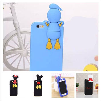 For iPhone 5 5S Lovely Cute 3D Cartoon Mickey Mouse Minnie Donald Duck Stitch Soft Silicone Rubber Cover Case phone cases