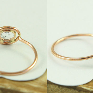 Rose Cut Diamond Slice Ring by Tulajewelry on Etsy