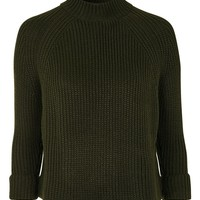 Topshop Ribbed High Neck Crop Sweater (Petite) | Nordstrom