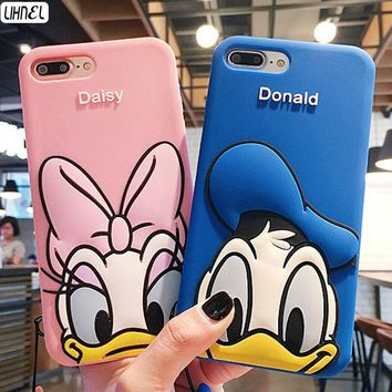 LIHNEL Cute Donald Daisy Duck Pattern Shockproof Silicon Back Shell Cover for iPhone X 6 Plus 6 6S Plus 7 7Plus 8 8Plus Capes