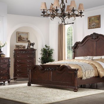 Mc Ferran -B188 5 pc daphnee rich dark brown colored finish wood queen bedroom set