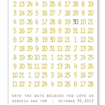 Rebecca & Tom Save the Date Announcement. Wedding Bridal Baby Shower Invitation. Mustard Yellow Gray Numbers DIY Printable Invite or I Print