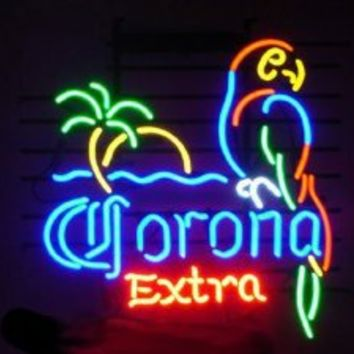 """Corona Extra Parrot Bird Left Palm Tree Beer Bar Pub handicrafted Real Glass Tube Neon Light Sign 19"""" X 15"""""""