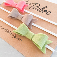 Coral Felt Bow Headband Set, Green Felt Bow Headband, Tan Felt Bow Headband, Felt Bow headband set, Felt Bow Headbands, Baby Headband Set