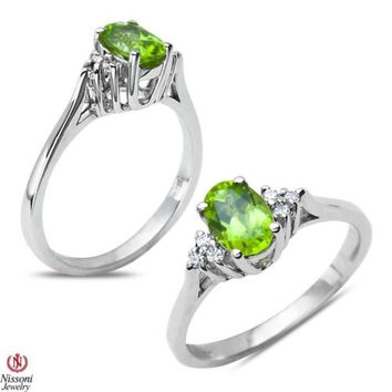 .06CT Diamond Fashion Ring with Created Peridot 10k White Gold  0.06CT