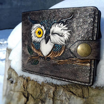 Owl wallet leather, trucker wallet, Owl on tree, Credit card wallet, biker wallet, Carving, hand-tooled wallet, bifold wallet, owl leather