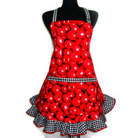 Full Kitchen Apron,  Red Apples, Retro Hostess Style Ruffle