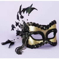 Karneval Half Mask W-feathers & Beads - Black-gold