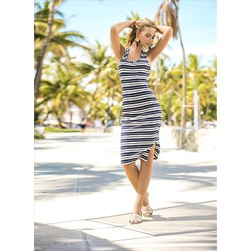 Navy & White Stripes Rib Summer Outfit Dress