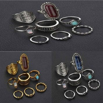 8PCS Bohemian Vintage Tiger Eye Stone Rings Set Women Ethnic Antique Silver/Gold color Retro Ring