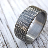rustic mens ring, mens wedding band rustic, driftwood ring, cool mens ring silver, hammered silver ring, tree bark ring, mens proposal ring