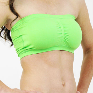 Bandeau Top - Padded Neon Green