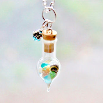 Terrarium Necklace Beach Jewelry, Seashells Mini Glass Bottle and Crystal, Turquoise Glass Sea Shell Pendant